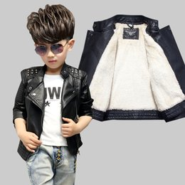 Wholesale Kids Leather Jacket 3t - kids winter jacket Add cashmere pure black leather coat 2017 autumn and winter children's leather jackets rivet lapel baby shirt