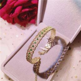 braccialetto in oro smeraldo Sconti Braccialetti vintage per le donne Braccialetti S925 Sterling Silver 18K Gold Emerald Green Gemstone Luxury Annivesary Bijoux Fine Jewelry