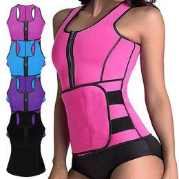 Wholesale hot body workouts - Neoprene Sauna Vest Body Shaper Slimming Waist Trainer Hot Shaper Summer Workout Shapewear Adjustable Belt Corset 4 color
