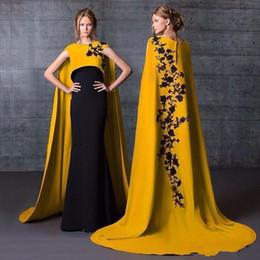Длинные кафтаны высокая шея Русалка вечерние платья с накидкой обернуть длинные черные кружева аппликация атласные вечерние платья дизайнер арабский вечернее платье выпускного вечера от Поставщики вечерние черные кафтаны