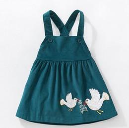 Wholesale corduroy girls christmas dresses - girls clothing fall New girl dress corduroy cartoon Birds hedgehog print dress girl's elegant dress 100% cotton kids clothing