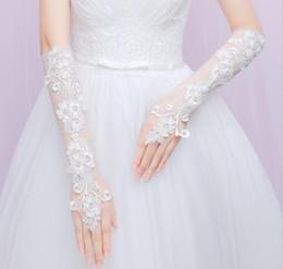 Deutschland 2018 Neueste unter Ellenbogen Länge Hochzeit Handschuhe Fingerlose Spitze Applique Brautkleid Zubehör Brauthandschuhe Versorgung