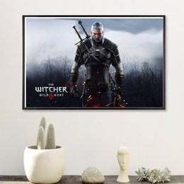 Wholesale Posters Games - Witcher 3 Game Vintage Canvas Art Print Painting Poster Wall Pictures For Room Home Decoration Wall Decor Silk Fabric No Frame