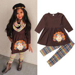 2019 vestidos da camiseta da luva longa da criança Roupa de agradecimento para o bebê meninas crianças conjuntos de roupas meninas da criança roupas de manga longa t-shirt tops dress calças boutique baby suit vestidos da camiseta da luva longa da criança barato