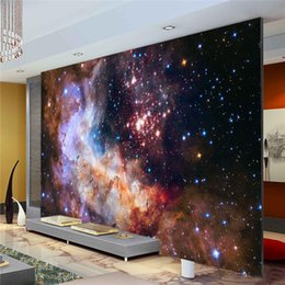 Wholesale Chinese Silk Wall Painting - 3D Gorgeous Galaxy photo wallpaper Custom Silk Wallpaper Starry Night Wall Mural Art Painting Hoom decor Kid Bedroom Living room Decoration