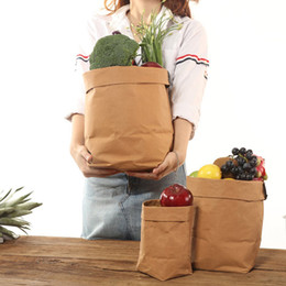 Wholesale Vegetable Storage Baskets - Kraft Paper Storage Bags Washable Plants Vegetable Grow Bag Flower Pot Bag Basket Flowerpot Cover Baby Clothing Toy Organizer