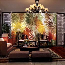 Wholesale Fiberglass Wall Coverings - 3d large living room bedroom TV background fresco wall wallpaper Southeast Asia tropical plant rainforest seamless wall covering