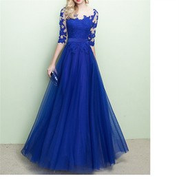 Wholesale simple floral prom dresses - Elegant Blue Mother of the Bride Dresses Long Evening Dress Scoop Sheer with Floral Lace Half Sleeves Floor Length Prom Gowns