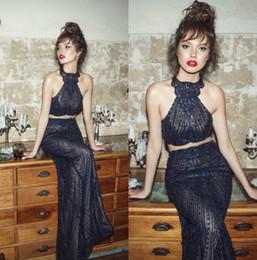 2018 Julie Vino sirena vestidos de baile cuello alto sin espalda azul marino vestido de noche formal rebordear cristal vestidos de fiesta sexy desde fabricantes