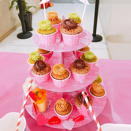 Wholesale Bakery Wedding Cakes - Wholesale-Wholesale 3 Tier Paper Cupcake Cake Stand Plates Holder Wedding Kids Children Happy Birthday Party Christmas Bakery Decoration