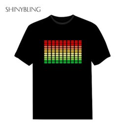 Wholesale Rock Disco - Hot Sale Sound Activated Led Cotton T Shirt Light Up and Down Flash Equalizer EL T-Shirt Men for Rock Disco Party DJ Top Tee