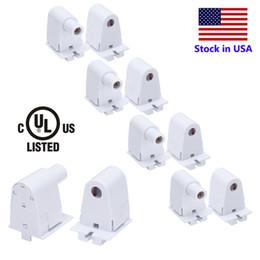 Wholesale plastic lamp holders - US Stock Single pin socket Tube Holder for FA8 T8 T10 T12 8FT LED tube lamp bases (1Pair = 2PCS)