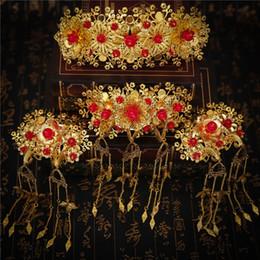 Pelo chino de la novia de la boda online-4 UNIDS / SET Peinetas de Pelo Tocado de La Boda Del Estilo Chino de la vendimia Accesorios Para el Cabello Novia Casco Mujeres Rendimiento Retro Hairwear