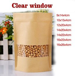 Wholesale paper tea - 100pcs Zip-lock Stand up Front Clear Window Kraft Paper Bags  Recloseable Kraft Moistureproof Packaging Storage Nut,Snacks,Tea Pouches