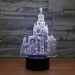Wholesale Church Lamp - Church 3D Optical Illusion Lamp Night Light DC 5V USB Charging AA Battery Wholesale Dropshipping Free Shipping