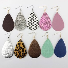 Wholesale Leopard Fashion Jewelry - 2018 New Spring Summer Fashion Boho Jewelry Candy Color Leather Teardrop Dangle Earrings for Women Pu Leather Leopard Bohemian Earrings