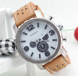 Wholesale Dressing Waterproof - Luxury Brand FOSS Men's Fashion Casual Sport Watches Men Waterproof Leather Quartz Watch Man military Clock Relogio Masculino.