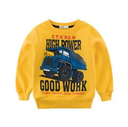Chemises jaunes en Ligne-Tee shirt manches longues enfants garçons vêtements à capuche vêtements enfants camion bébé Sweatshirts jaune bleu top qualité