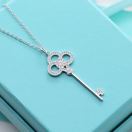 Sterling Silver Keys collana di smalto per le donne di lusso per sempre catena di moda marchio di moda da sposa partito diamante collane cave cheap sterling silver keys da chiavi in argento sterling fornitori