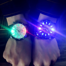 Wholesale mens colorful watches - Colorful Trend Cool Light Mens Womens Watches Luminous Fashion Large Dial Wristwatches Students Lovers Waterproof Quartz Men Women Watch