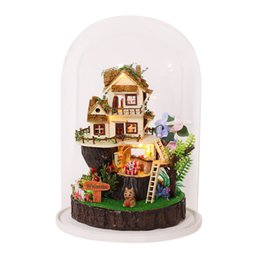 Wholesale wooden assembly toys - DIY Dollhouse With Furnitures Micro Landscape Craft Ornament Assembly Model Handmade Gift Toys SONG OF THE FOREST GN03