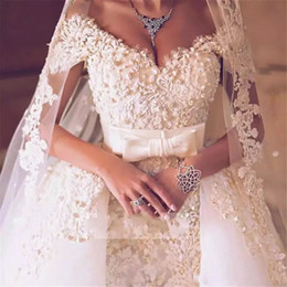 Wholesale Wedding Dress Off Shoulder Pearl - Luxury Arabic 3D Floral Wedding Dresses with Overskirt Pearls Crystal Appliques Mermaid Dubai Wedding Dress Glamorous Plus Size Bridal Gowns
