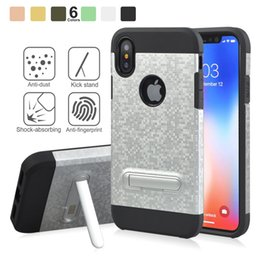 Wholesale wholesale plastic bracket - Mosaic Pattern Case Armor 2 in 1 Kickstand Shell Cases Shockproof Bracket Cover For iPhone X 8 8plus 7 6 6S Plus Sumsung S8 S7 Edge plus