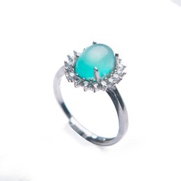 gemstone ring designs for women Coupons - Genuine Green Natural Amazonite Gemstone Adjustable Size Design 925 Sterling Silver Fashion Rings For Women Men