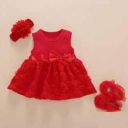 2019 vestido de rayas rojas blancas para niños Recién Nacido ropa de los bebés del vestido de partido de los niños del vestido del verano Trajes de cumpleaños zapatos Hairband Set Traje de bautizo para la niña
