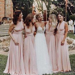 Ocasiones vestidos de damas de honor online-Vestido rosa claro con cuello en V Vestidos largos para dama de honor 2019 Longitud del piso fruncido Vestido de dama de honor Vestido de boda Invitado Vestidos para ocasiones especiales
