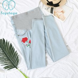 33c04d57528e1 6638  Stretch Cotton Light Blue Denim Maternity Jeans Belly Pants Clothes  for Pregnant Women Summer Pregnancy Pencil Trousers