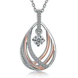 Wholesale Buy Pendants - Elegant Pendant Necklace Beautiful Design Rhodium and Rose Gold Color Contrast Clean Metal White Zircon Best Buy Collier femme