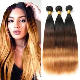 Cheveux malais vierges mous blancs en Ligne-8A Brown Ombre Cheveux Raides 3 Bundles Cheveux Vierges Malaisiens 1B / 4/30 Trois Tons Ombre Droite Extensions de Tissage de Cheveux Humains