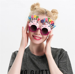 Wholesale Cute Happy Birthday - Cute Happy Birthday Sunglasses Creative Cream Cake Funny Glasses Wedding Carnival Party Decoration New Arrive 12sf C