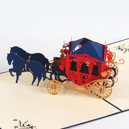 Wholesale friends day cards - Handmade Blye Papercraft Pop-Up 3D Business Cards Greeting Cards Horse Carriage For Friends Tarjetas de felicitacion