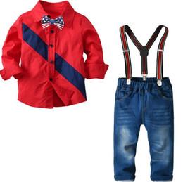 pantalones de caballero Rebajas Conjunto de trajes de bebés recién nacidos Conjunto Primavera Otoño Niños Camisa de manga larga Tops + Monos Jeans Pantalones Ropa de niños Caballero Niños Ropa 2-7 años