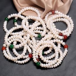 2019 pulseiras de pérolas moda Bonito de Água Doce Pulseiras de Pérolas para As Mulheres 8-9mm Branco Pérola Pulseira Ajustável Na Moda Presentes Da Jóia Da Forma 12 pçs / lote pulseiras de pérolas moda barato