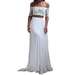 Wholesale dresses made usa - Seductive Lace 2 Two Piece Wedding Dresses Summer Chiffon Beach Wedding Dresses 2018 Boho Cheap Bridal Gowns White Casamento USA UK