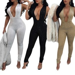 Wholesale Rhinestone Bodysuit - Sexy Jumpsuit Romper Hot Drilling Summer Jumpsuit Women Hollow Out Sleeveless Bodysuit Female V Neck Party Playsuit CL392
