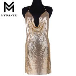 2019 robe kendall MYDANER 3 Couleurs Kendall Jenner Style Dress Chainmail Wrap Collier Ras Du Cou Chaîne Soutien-Gorge De Mode Femmes Robe Wear Body Jewelry promotion robe kendall