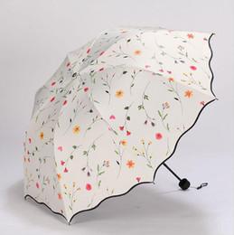 Wholesale Uv Sun Protection Umbrella - Flower Women's Umbrella Folding Wind Resistant Summer Sun Umbrella Parasol UV Protection Flower Women's