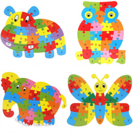 Wholesale Hot Wood Toy - Cute Animal Alphabet Jigsaw For Children Wooden Puzzle Toy Gift Many Styles Hot Sale 3dd C R