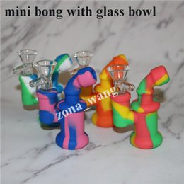 Wholesale Glass Pipe Fittings - Glass Oil Rigs Glass Bong Accessory Mini Silicone Mouthpieces Nozzle Pipe Fit Oil Rigs Heady Bubbler Water Bong with perc