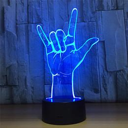 Optique de nuit en Ligne-7 couleurs lumière lampe décoration de la maison visualisation étonnante illusion optique modèle de geste 3d LED veilleuse