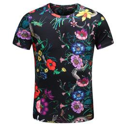 Wholesale Flower Plugs - New 2018 Men Pastoral flower snake T Shirts kanye T-Shirt Hip Hop Skateboard Street Cotton T-Shirts Tee Top S-XXXL Plug #F68