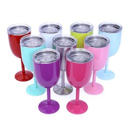 Wholesale Glass Art Sale - Hot Sale 9 colors in stock 10oz Wine Glasses Cup double wall with lids Goblet Bilayer Stemware Creative Drinkware car cups