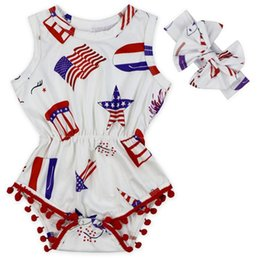 Wholesale flag romper - Baby Girls Tassel Sleeveless Romper Toddler American Flag Print Rompers Newborn Kids USA Jumpsuit with Headband