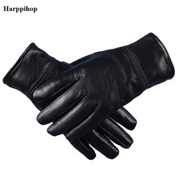 Wholesale Genuine Leather Gloves Wholesale - Harppihop Men's Genuine Leather Gloves Real Sheepskin Black no Touch Screen Gloves Fashion Brand Winter Warm Mittens New G1005