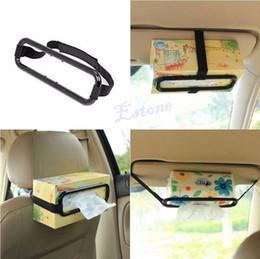 suporte de tecido para viseira auto para carro Desconto Titular da caixa de lenço de papel do carro Sun Visor Assento Auto Voltar Acessórios Clipe Bracket