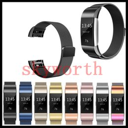 Wholesale Black Charge - Magnetic Milanese Loop Metal Band For Fitbit Charge 2 Blaze Fitbit AlTA HR Wristband Stainless Steel Watch Bracelet Mesh Strap 9 Colors